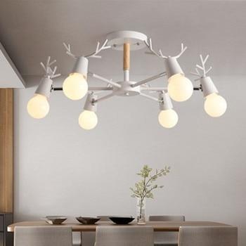 Di legno LED Lampadario Per Soggiorno Bianco Lustre Lampade Camera Da Letto Nero Lustri di Legno Appendere Le Luci Da Pranzo Lighitng