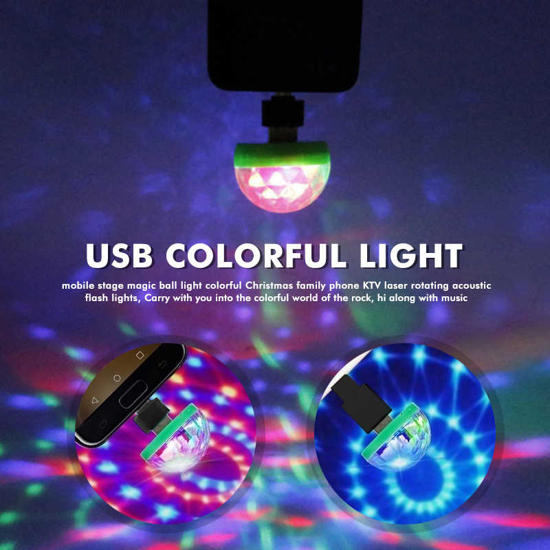Mini USB LED Disco Magic Ball Licht Musik Aktiviert Farbe Ändern Home Party E4
