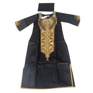 Image 2 - MD 2020 Dashiki Váy Đầm Cho Nữ Châu Phi Bazin Riche Áo Dài Với Headwrap Plus Size Đầm Thêu Châu Phi Nữ Quần Áo