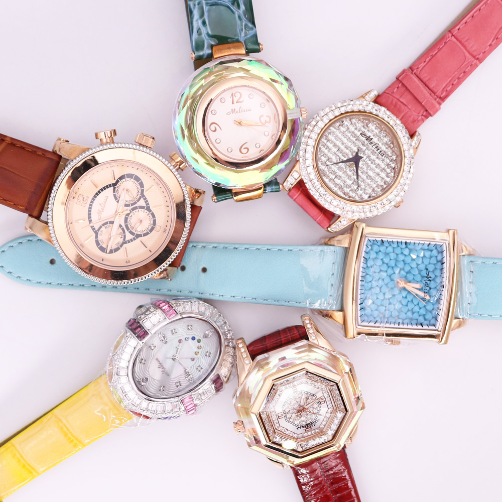 SALE!!! Discount Melissa Crystal Old Types Men's Women's Watch Japan Mov't Fashion Hours Bracelet Leather Girl's Gift Box