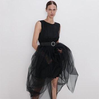2019 nuevos vestidos de malla de seda de gasa Za vestido de retazos de sexo negro ropa de moda de mujer ropa de Color sólido sin mangas