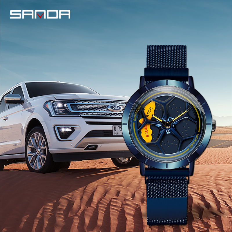 Men Wristwatch Wheel-Shaped Rotating-Dial-Life Outdoors SANDA Hot-Sell Business Quartz title=
