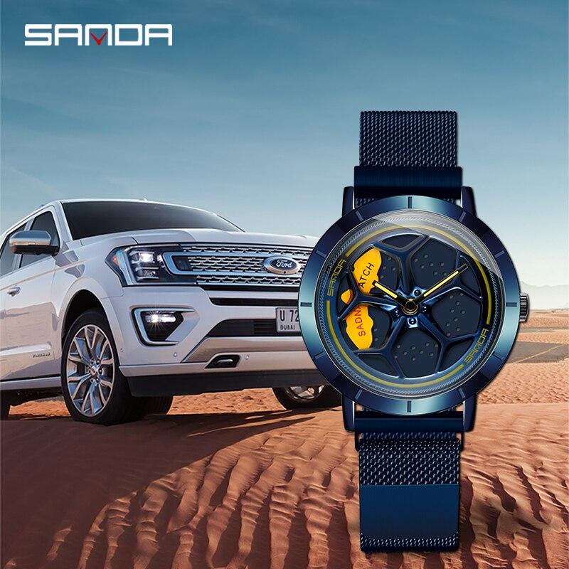 SANDA Hot Sell Business Outdoors Men Wristwatch Wheel Shaped Rotating Dial Life Waterproof Durable Quartz Gifts Watches 1022