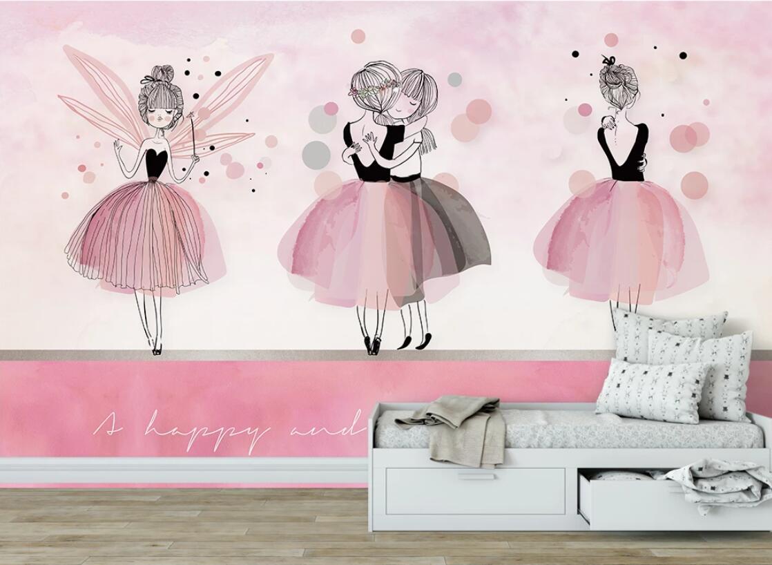 Pink Ballet Wallpaper 3D Wall Murals For Kids Bedroom Wall Papers Roll Decals Papier Peint Mural Contact Paper Papel De Parede