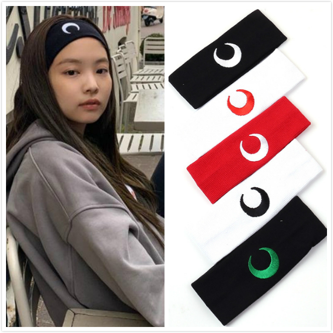 1 pc kpop jennie nova lua moda bandana elástica faixas de cabelo macio feminino esporte yoga hairband meninas dança headwrap piscar