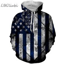 LBG new 3D printing flag Dallas denim Sweatshirt men and women fashion hoodie Harajuku American