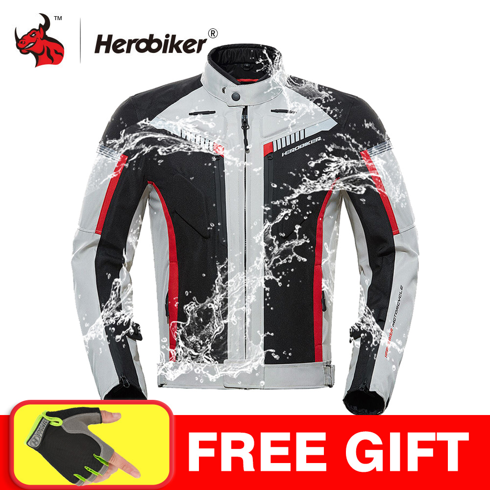 HEROBIKER SPRING Autumn Motorcycle Jacket Men Waterproof Windproof Moto Jacket Riding Racing Motorbike Clothing Protective Gear title=