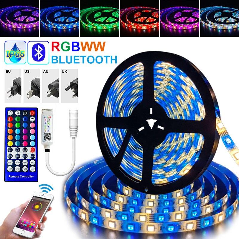 30m rgbww led luz de tira 15m impermeável fita de diodo 25m 5050 rgb led tira fita bluetooth app remoto com dc 12v adaptador de energia