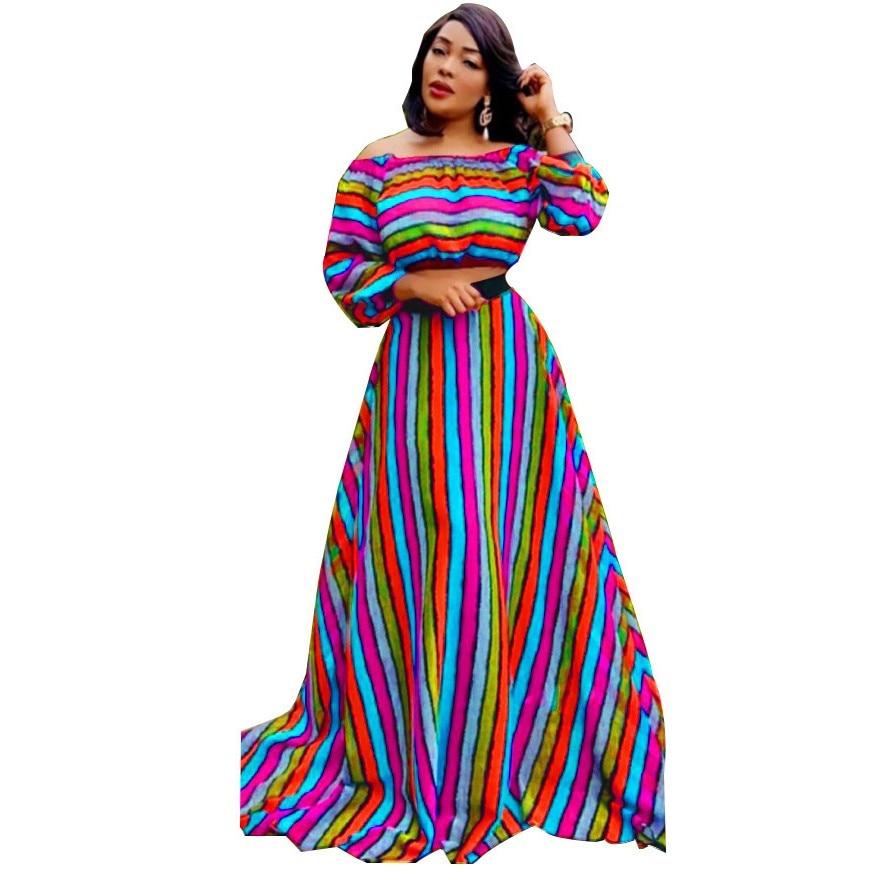 Autumn African Dresses For Women 2019 News Fashion Robe Long Dress Stripe Print Bazin Vestidos Dashiki Party African Clothes