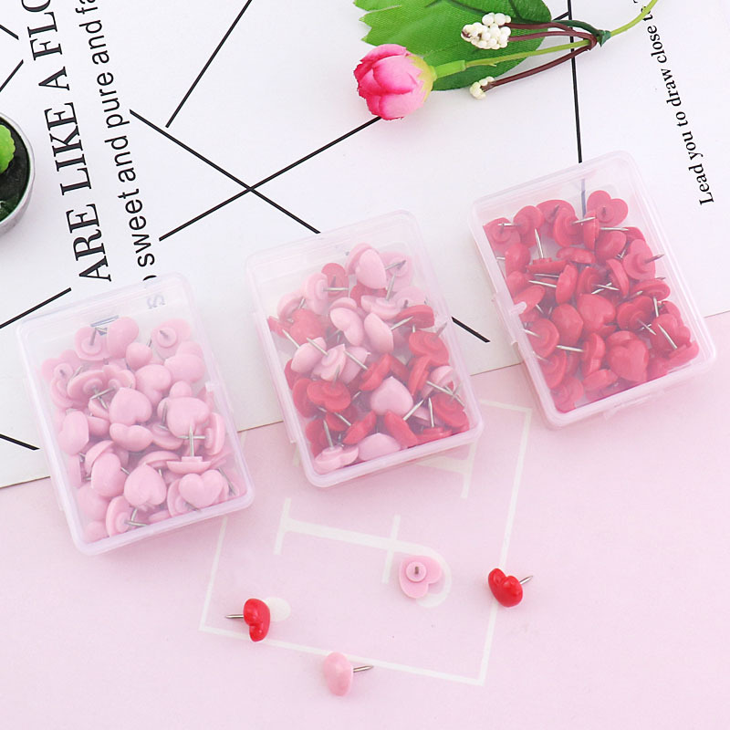 Plastic Packaging Heart Push Pin Environmentally Friendly Pushpin Corkboard Photo Wall Message Board Profession Heart Nail