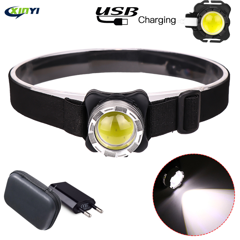 Built-in Battery 5000Lumens LED Headlamp USB Rechargeable COB Work Light 3light Modes Waterproof Headlight  For Fishing, Camping