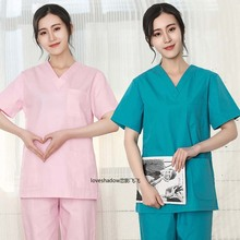 Plug Size S-4XL Pure Cotton Scrubs Women Short Sleeve V Neck Nurse Doctor Solid Color Scrub Top (No Pants) Medical Uniforms