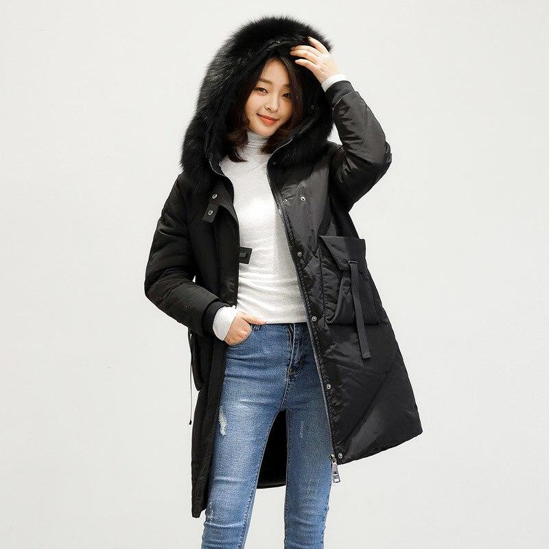 Women Clothes 2020 Down Jacket Woman Hooded Long Coats Winter Coat Women Fox Fur Collar Parka Chaqueta Mujer MY1518