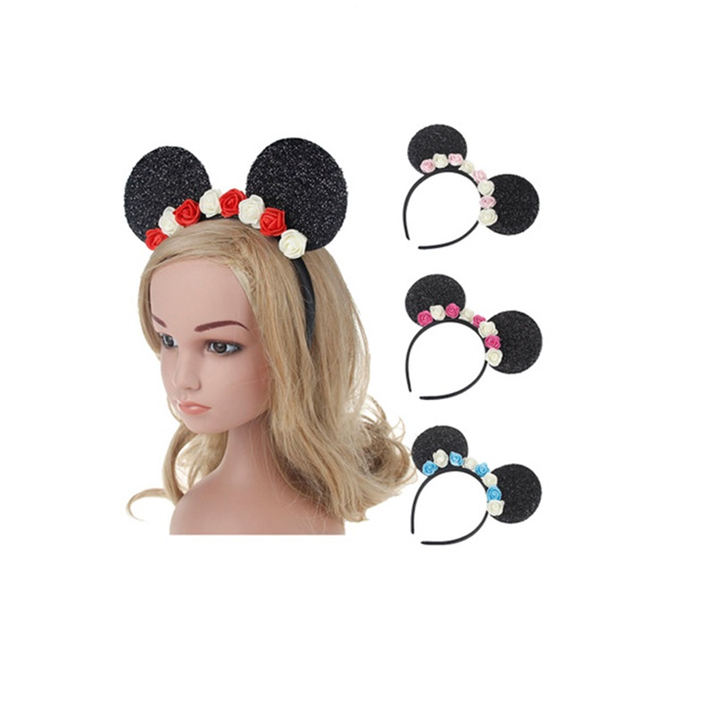 1PC Fashion Mickey Mouse Ears Flower Children Hair Bands Occident Lovely Children Hair Accessories Head Wear