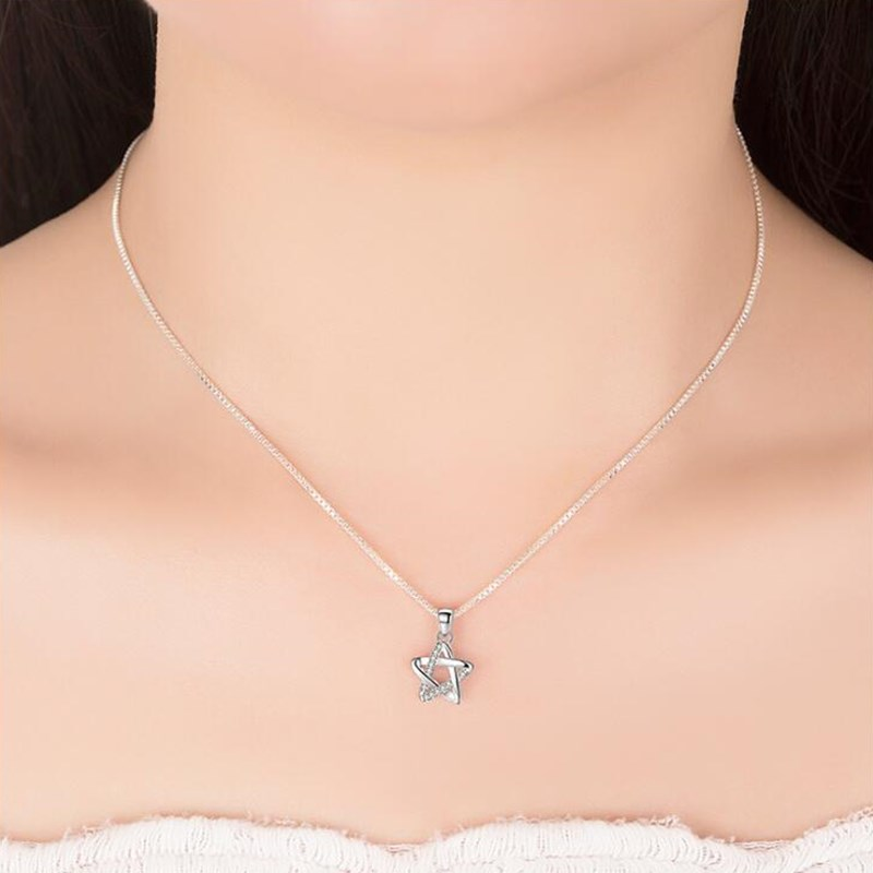 NEHZY 925 sterling silver women's fashion new jewelry high quality crystal zircon retro simple star pendant necklace long 45CM