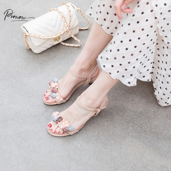 Prowow Fashion Style Sweet Blue Women Summer Sandals Open Toe Buckle Strap Thin Mid Heel Women Wedding Party Sandals Shoes Woman