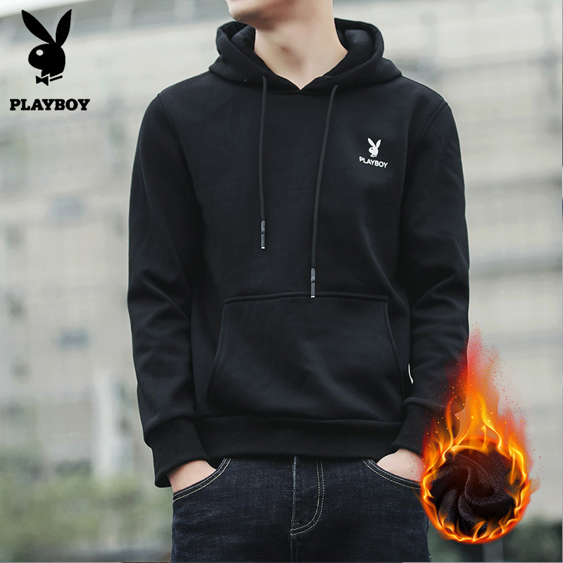 PLAYBOY Teenager Xue Sheng Kuan Korean-style Brushed And Thick Hooded Baseball Jacket