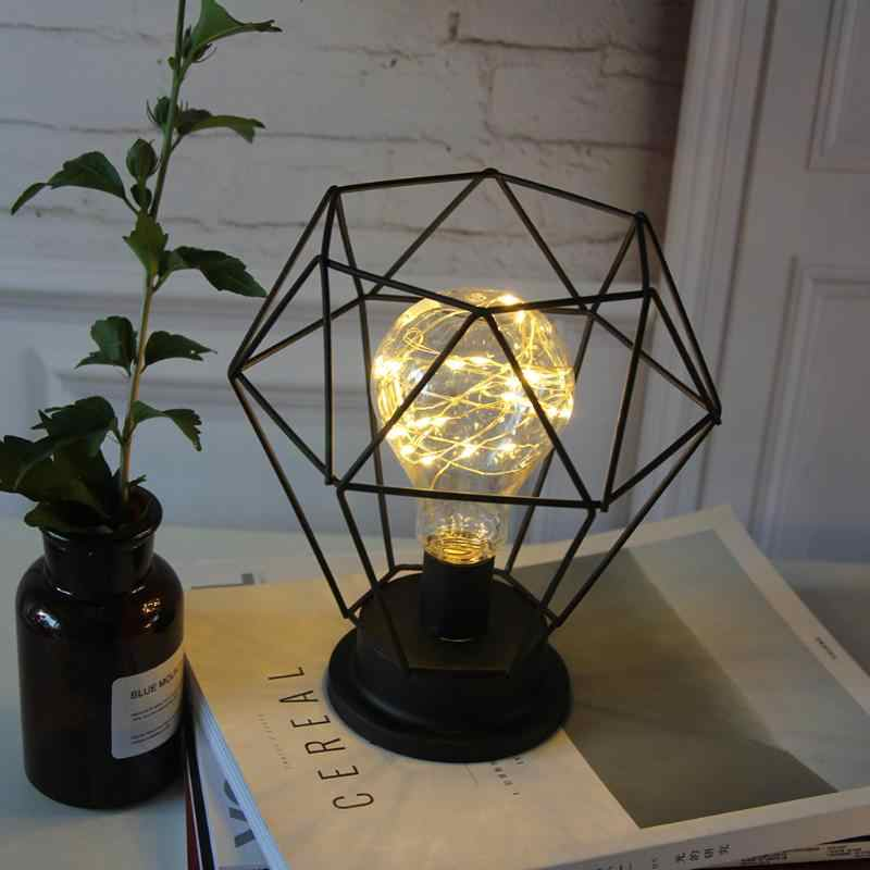 الحديثة رومانسية الحديد المطاوع LED لمبة مكتب شكل هندسي السرير ديكور ليلة ضوء البندول النمذجة ضوء ديكور الزفاف