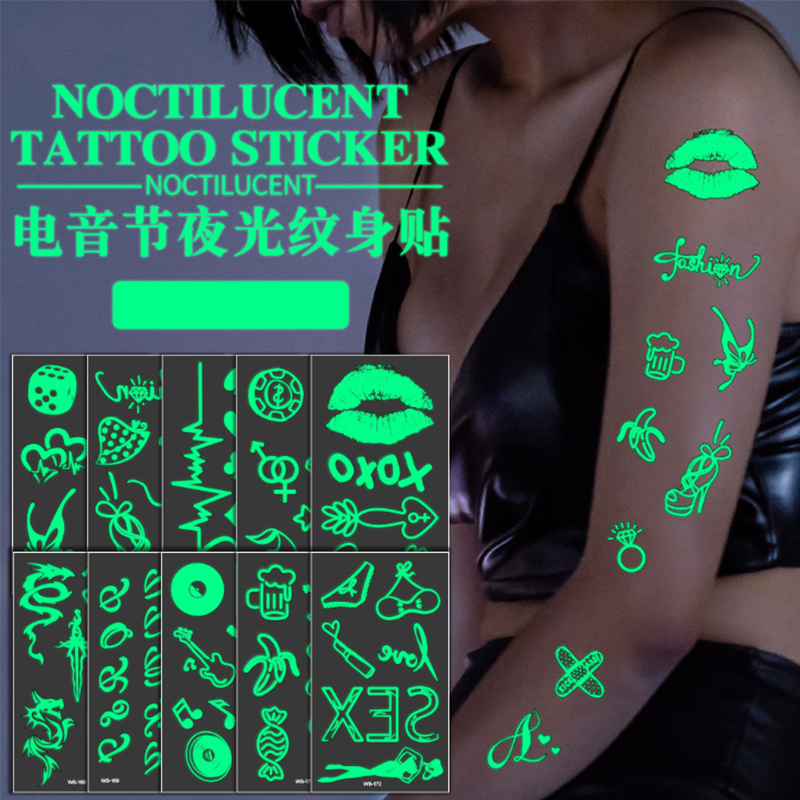Glow In The Dark Luminous Tattoo Fake Tattoo Dark Waterproof Temporary Tattoo Stickers  Body Art Fluorescent Tattoo Sticke