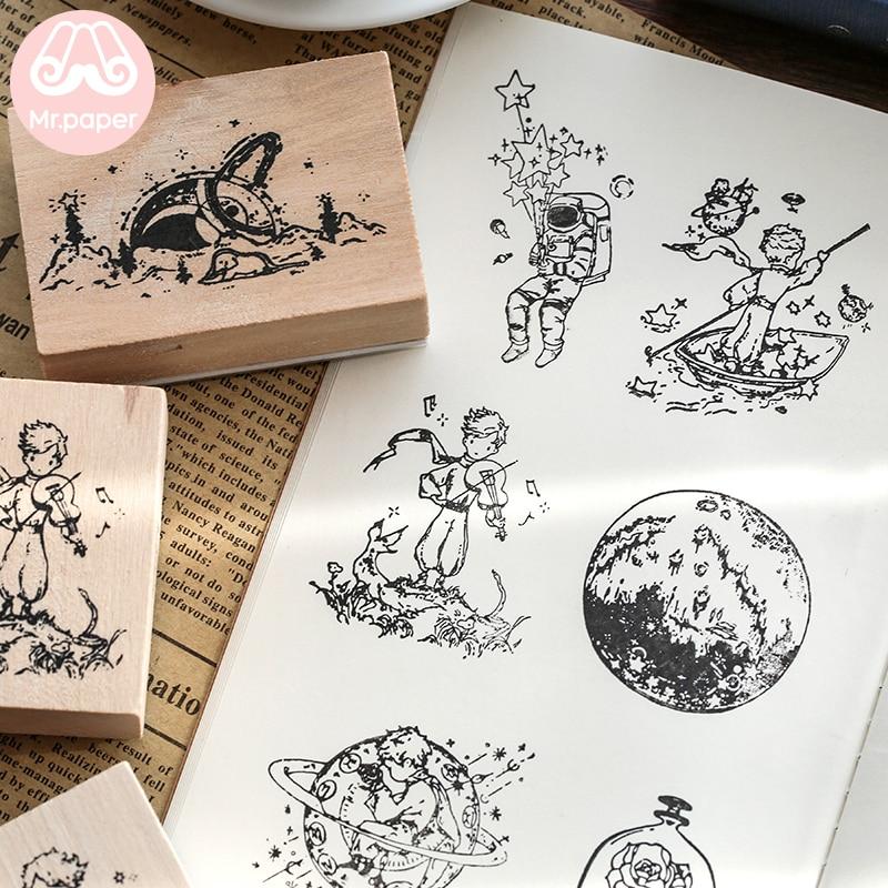 Mr.paper Vintage Little Prince Moon Decoration Stamp Wooden Rubber Stamps for Scrapbooking Stationery DIY Craft Standard Stamp 4