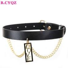 B.CYQZ – Collier Ras Du cou en cuir noir pour femmes, Collier gothique, Harajuku, chaîne en or, nouvelle collection