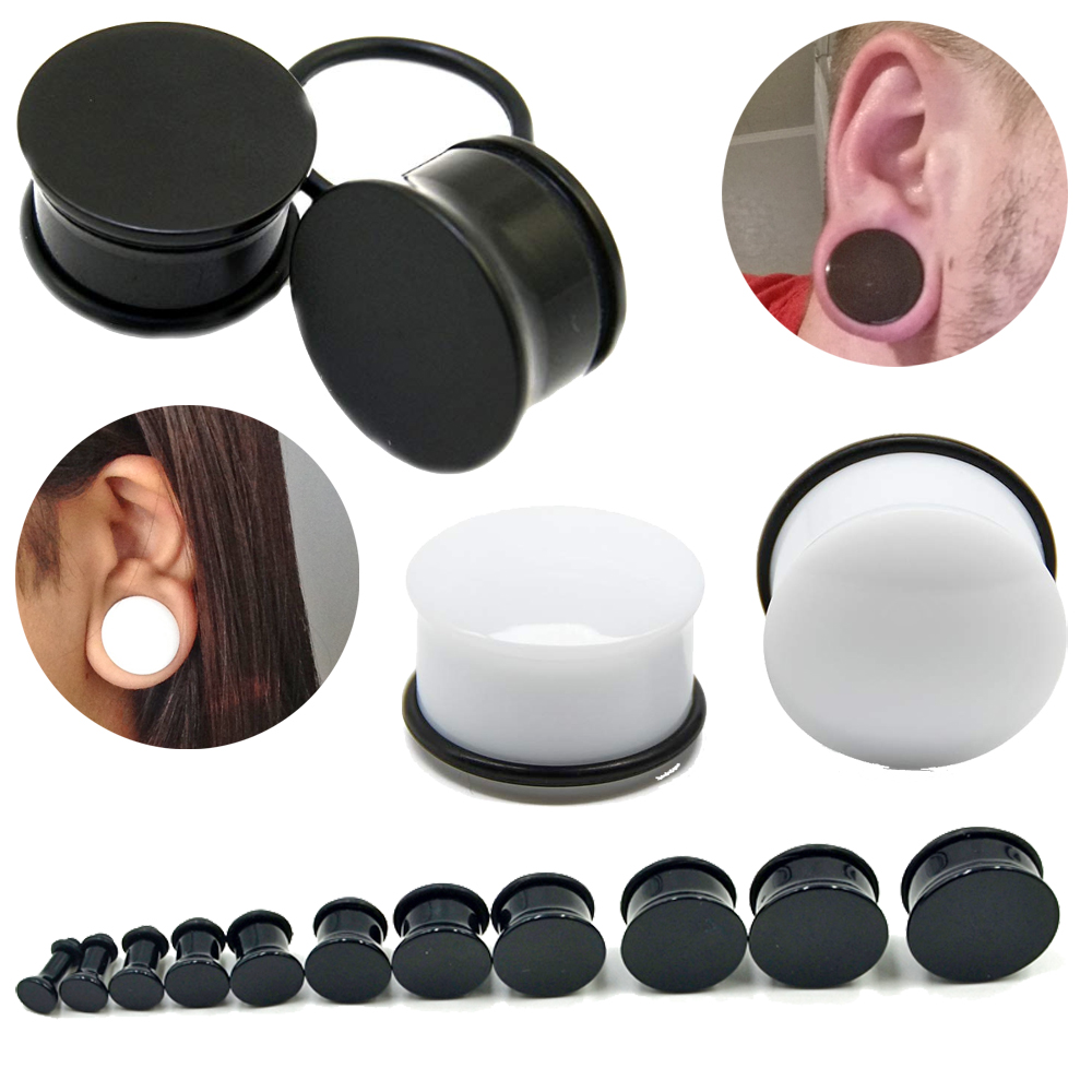 Pair Black & White Acrylic High Polished Single Flare Flesh Ear Ear Gauges Expander Stretcher 3mm-22mm Piercing Body Jewelry image
