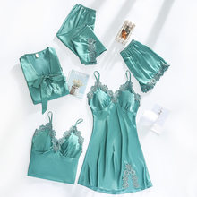 Women Dressing Gown 5Piece Sexy Pajamas Set Lace Sling Shorts Summer Robe Sleepwear Lace Silk Satin Pajamas Set for Women