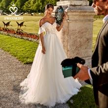 โรแมนติกTulle Appliquesชุดแต่งงานSwanskirt PZ20 Sweetheartปิดไหล่A Lineลูกไม้เจ้าหญิงชุดเจ้าสาวVestido De Novia