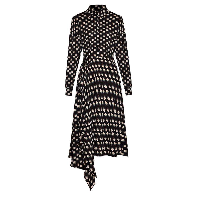 Goodlishowsi automne Streetwear femmes robe asymétrique imprimé géométrique manches longues dames Wrap robes