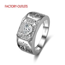 Wide Square Band Women/Men Wedding/Party Rings Shining High Quality CZ Crystal 925 Laides Finger Jewelry(China)