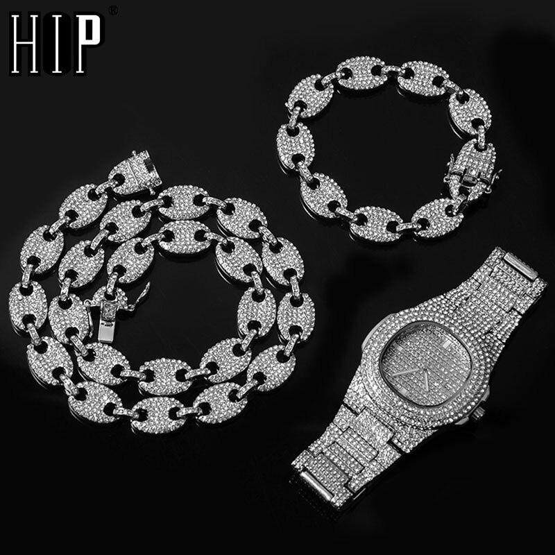 Montre + chaîne + Bracelet HIP HOP café glacé en alliage, collier en strass, nez de cochon, chaîne scintillante, bijoux pour hommes