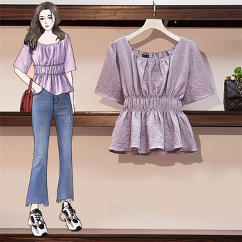 цена на COIGARSAM 4XL Plus Size blouse women New Summer Pleated High Waist blusas womens tops and blouses Lavender 9085