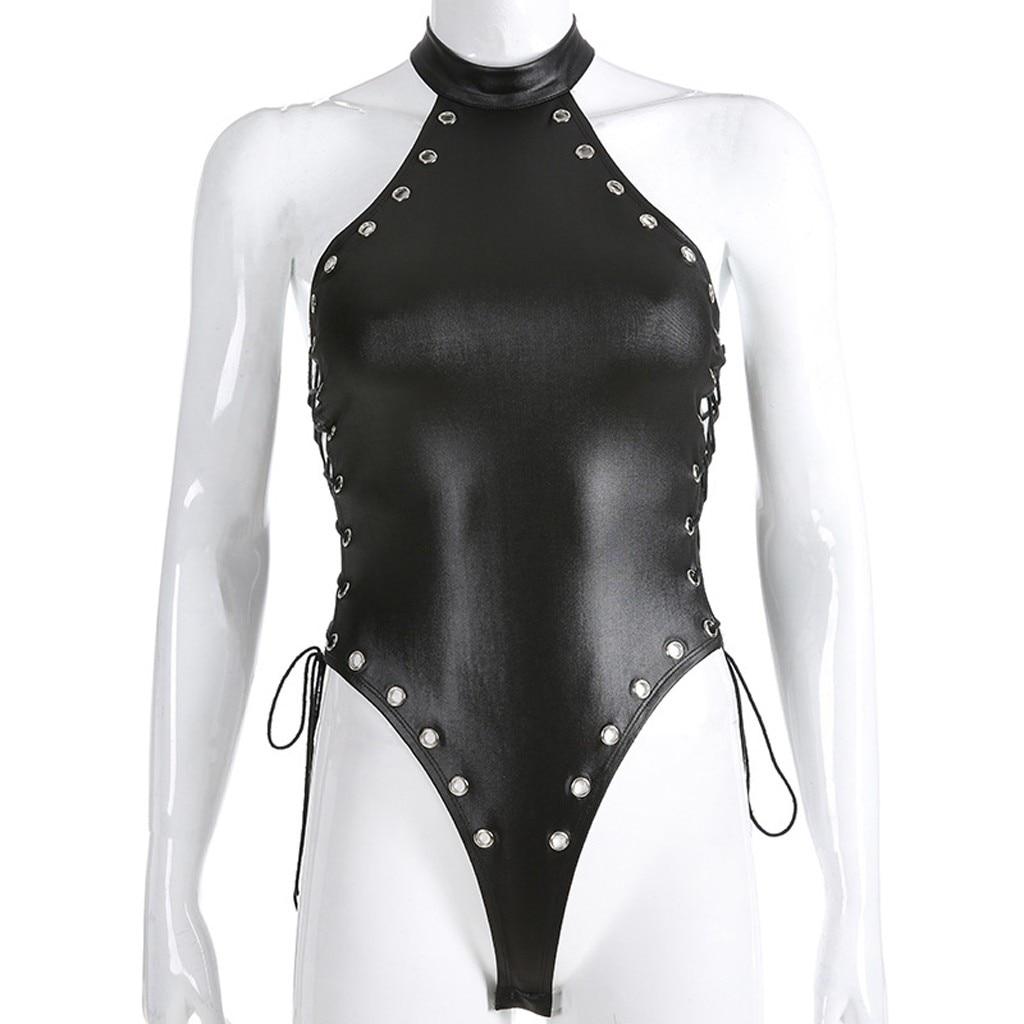Женский комбинезон, сексуальный, с заклепками, из искусственной кожи, Wetlook, цельный, на молнии спереди, купальник, боди, Клубная одежда, сексуальные Клубные костюмы, боди