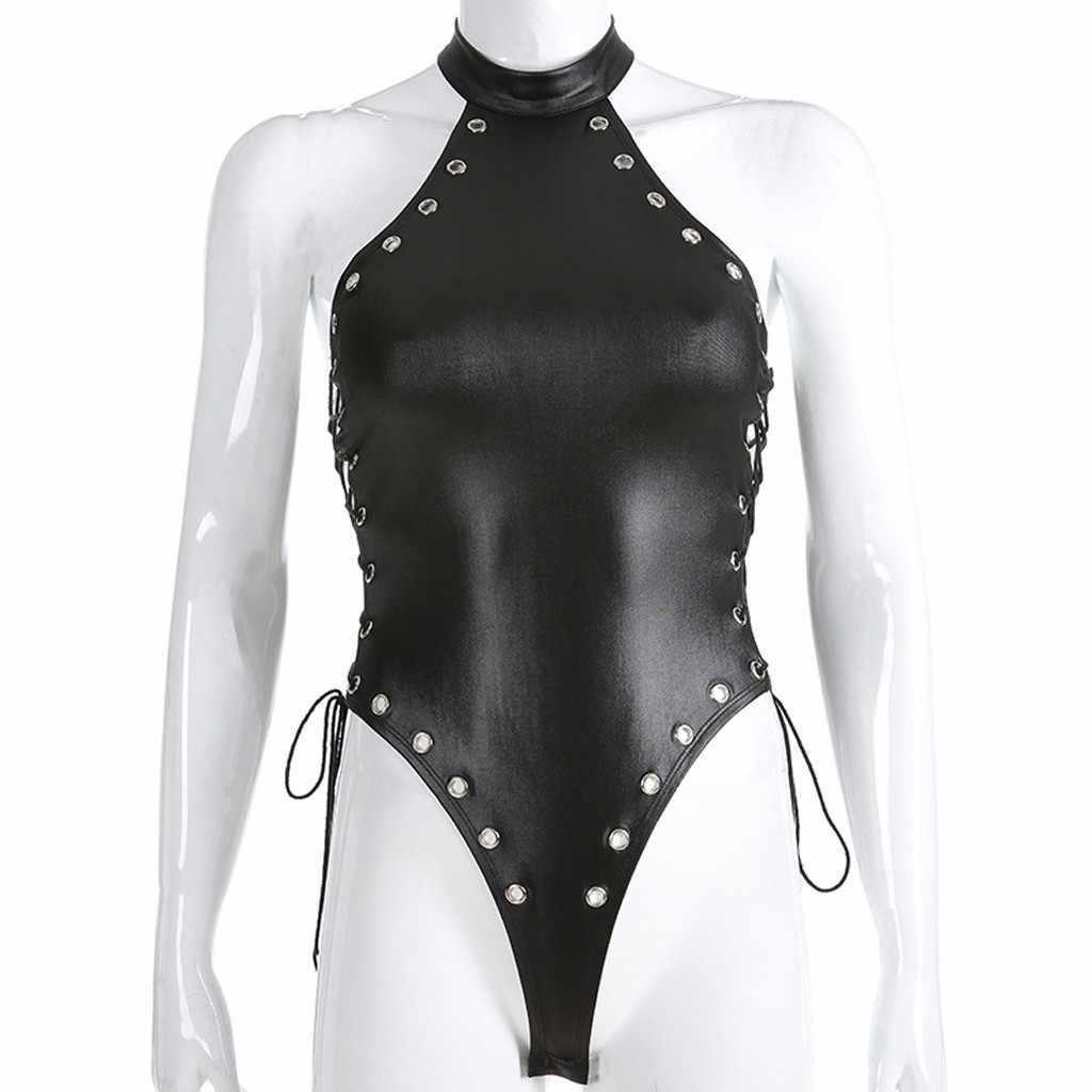 Tulum kadınlar seksi perçin PU deri Wetlook tek parça derin ön fermuar Leotard Bodysuit Clubwear seksi Club kostümleri Bodystocki