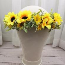 Wholesale Sun Flower Crown Festival Headband Women Hair Accessories Headdress Women Floral Garlands Wedding Flower Headwear