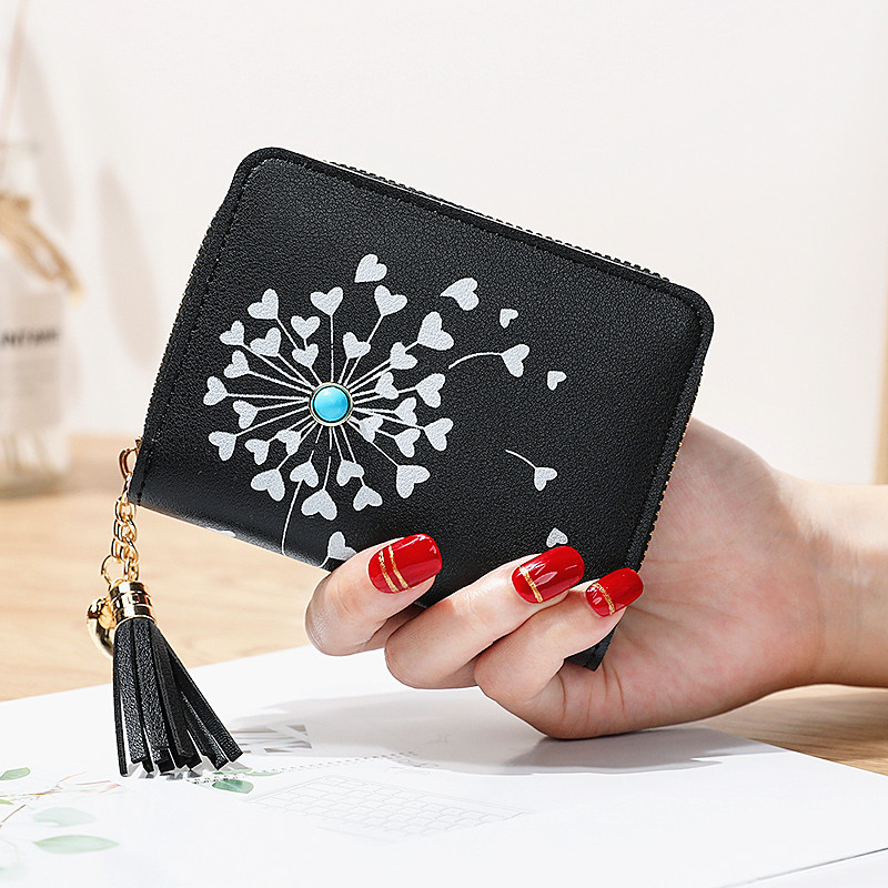 Small Women Wallet 2019 Heart Shaped Tassel Wallets Pu Leather Women Purse Ladies Zipper Female Purses Cute Wallet Carteira