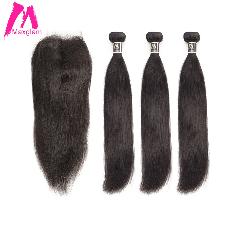 Straight Human Hair Bundles With Closure Remy Brazillian Hair Extension Weave Preplucked Short Long For Black Women 3 Bundles