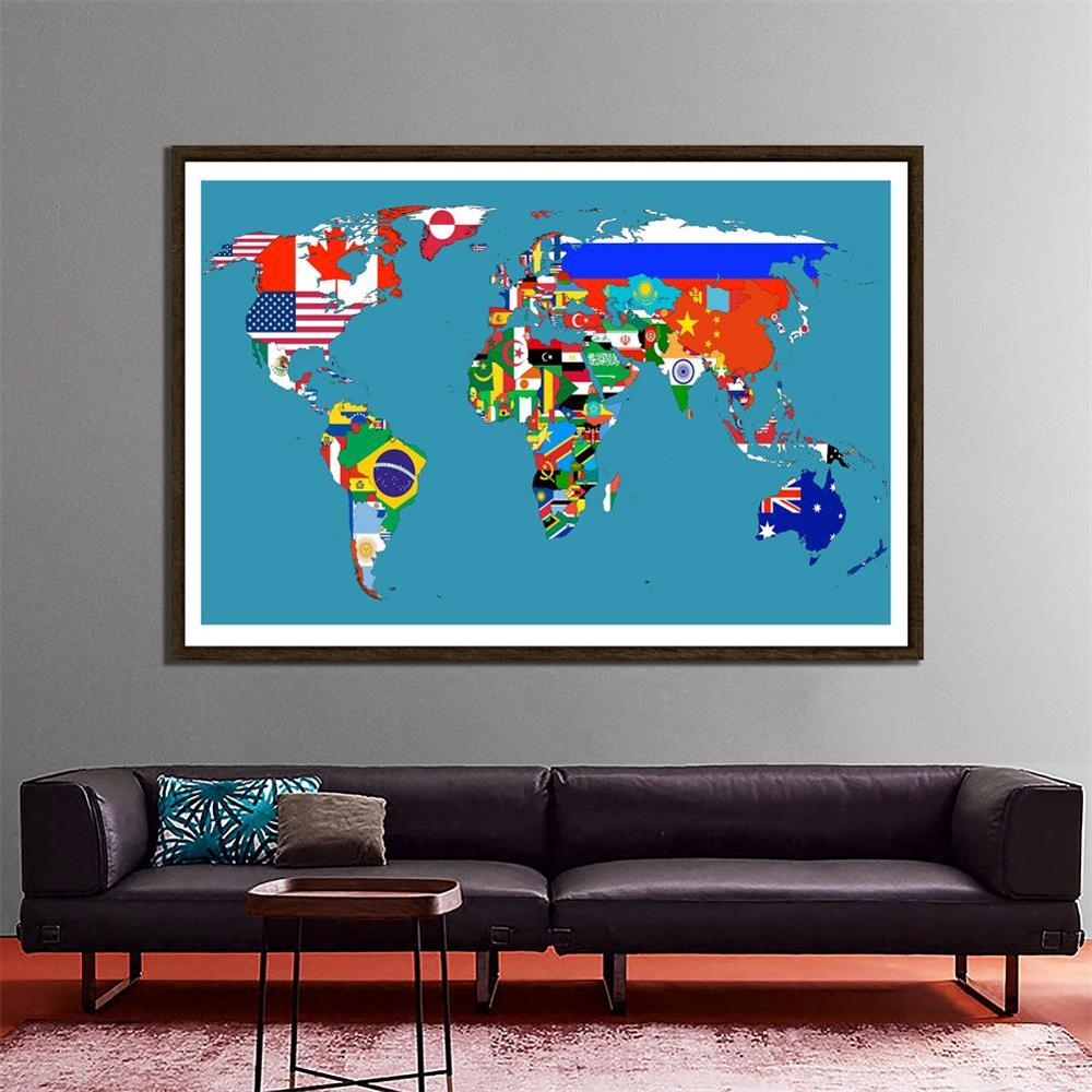 150x225cm DIY World Map Made With National Flags Pattern Non-woven Decor Map For Wall Decor