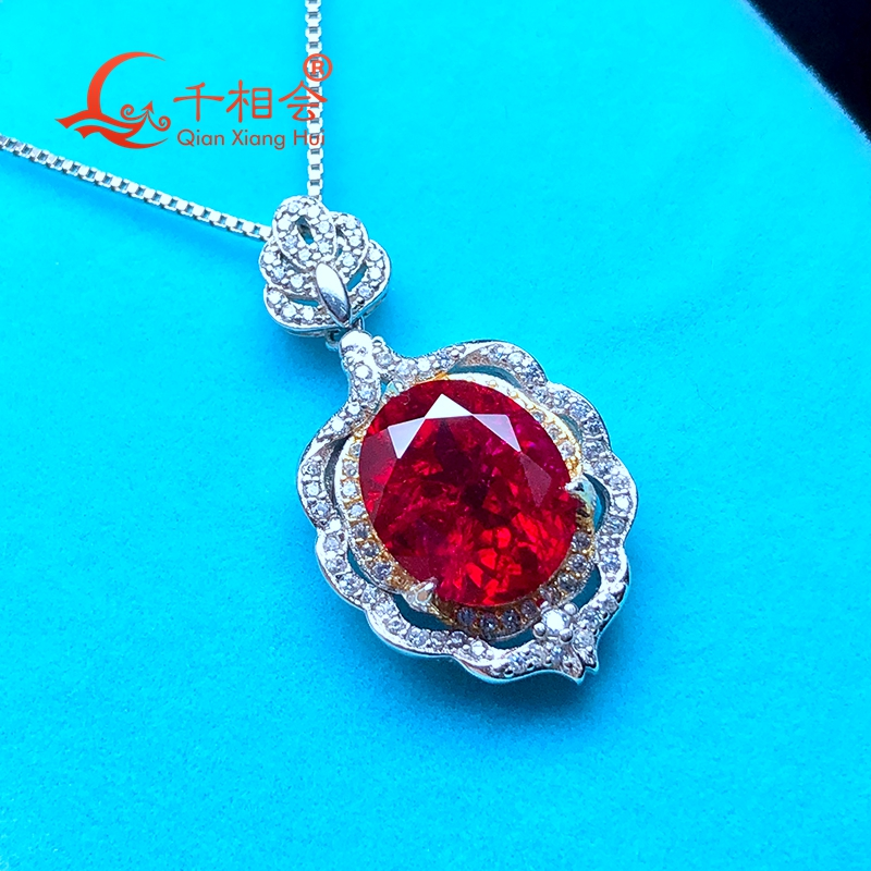Artificial ruby 10*12mm main stone 925 silver Fashion oval shape with inclusions red color Jewelry for Pendant Necklace
