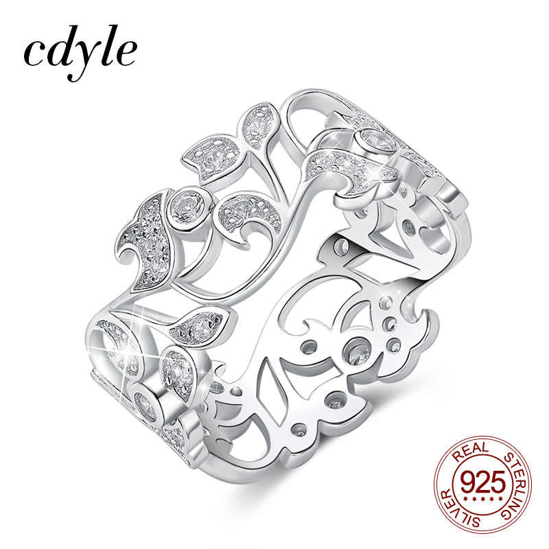 Cdyle 925 Sterling Silver Ring for Women Hollow Rhinestone Engagement Simple Bohemian Jewelry Vintage Boho Luxury Ladies Female