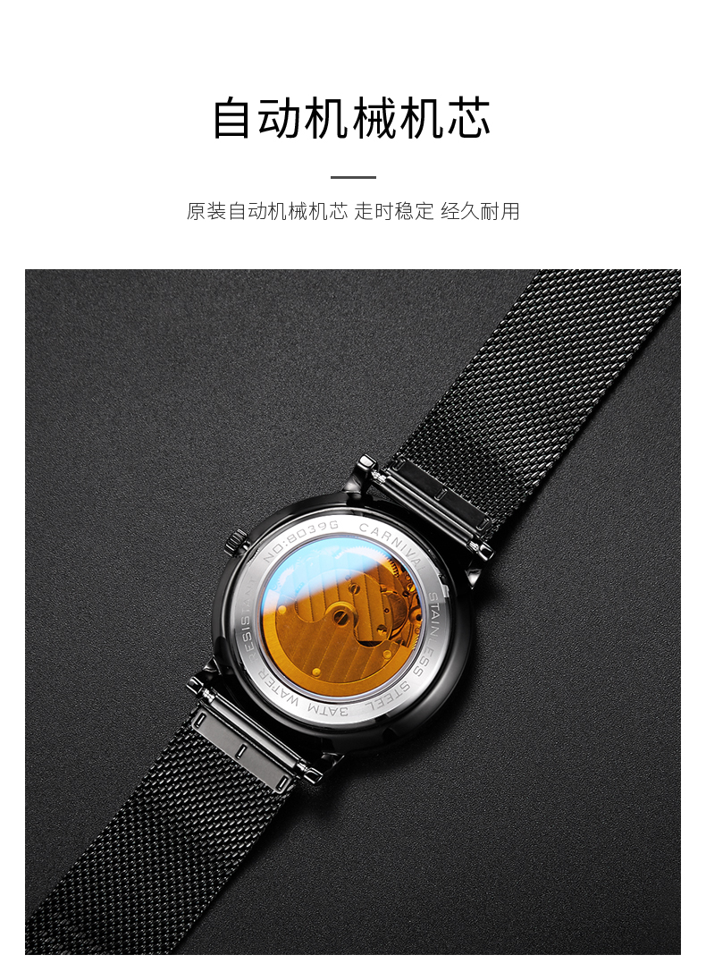 Carnival Men Automatic Watch Black Mesh Band Brief Ultra Thin Small Seconds Dial Luxury Mechanical Watch Simple Business Watch - 6