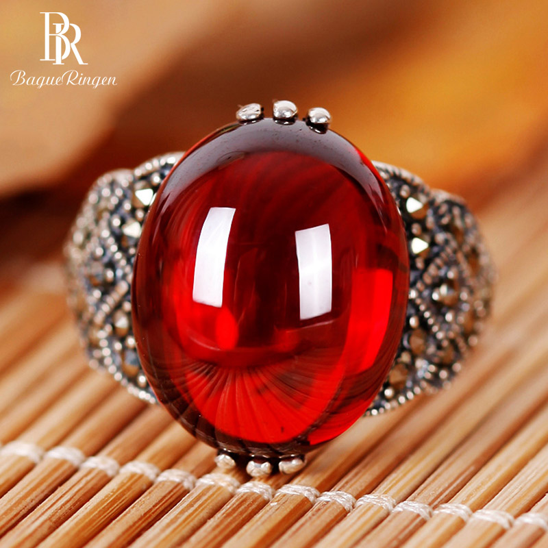 Bague Ringen New Created Garnet 925 Sterling Silver Rings Opening Adjustable  For Female Wedding Party Red Gemstone Ring  Gift