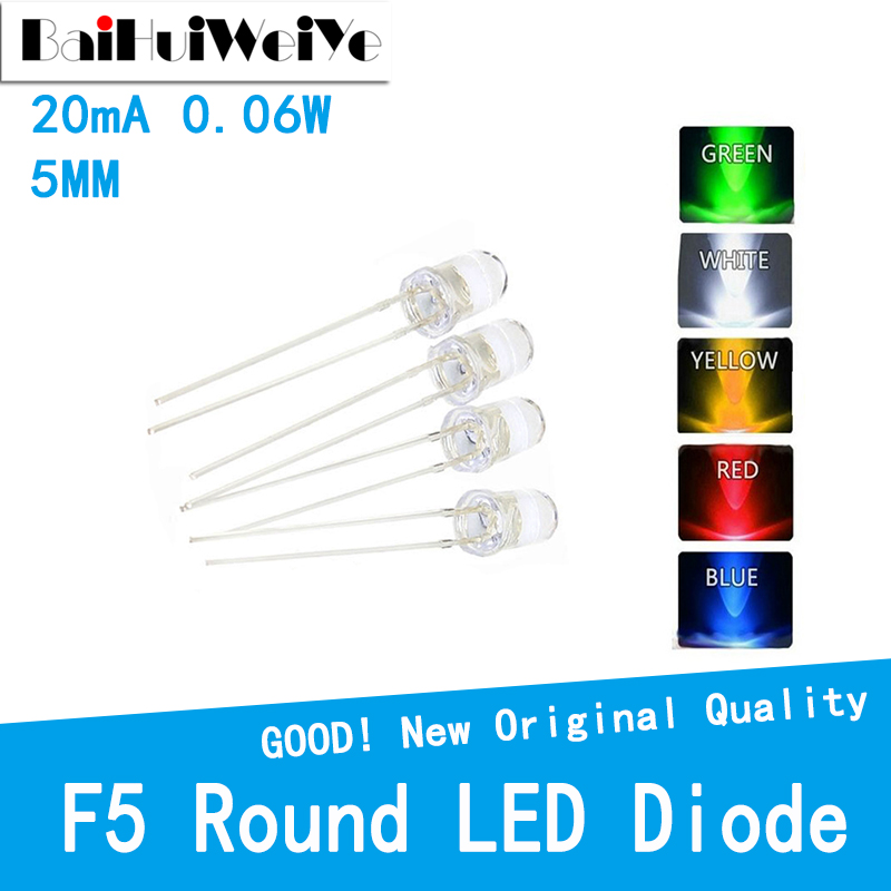 100PCS/LOT F5 Legs UltraBright Red/Green/Blue/White/Yellow Ultra Bright Transparent 5MM Round LED Diode 20(mA)0.06 (W) 3V-3.3V