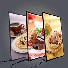 Светодиодная Рамка для рекламы в ресторане, световые коробки из закаленного стекла, ультратонкий световой постер для фильма, можно повесить на стену
