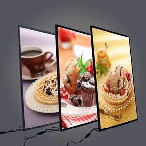 Image 1 - Marco LED para póster de restaurante, cajas de luz de publicidad, de vidrio templado, ultrafina, se puede colgar en la pared