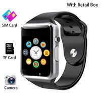 Relógio inteligente a1 com câmera pulseira inteligente relógio de pulso passo contador calorias monitor sono bluetooth smartwatch a1 suporte cartão sim