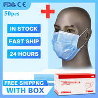 50 Pcs Disposable Dustproof Face Mouth Mask PM2.5 Influenza Breathing Safety Masks Face Care Elastic(In Stock)