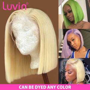 Luvin Closure Wig 613 Blonde 13X4 HD Transparent Lace Front Human Hair Wigs Straight Brazilian Short Bob Frontal Wig Black Woman(China)
