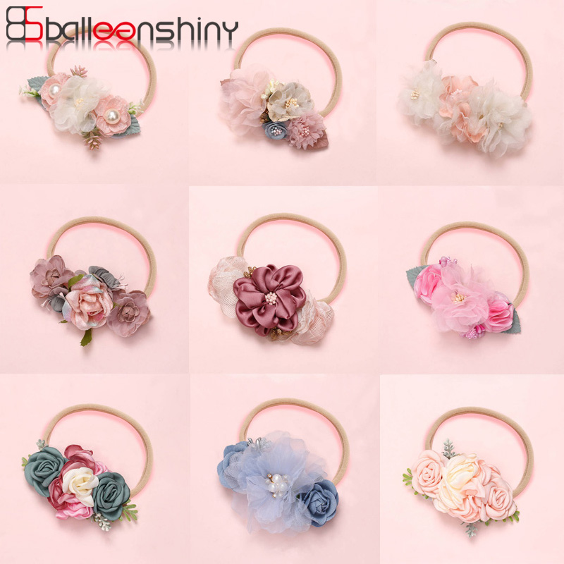Balleenshiny 2020 New Fashion Baby Girls Headband Baby Cute Handmade Flowers Stitching Super Soft Seamless Hair Band Kids Turban