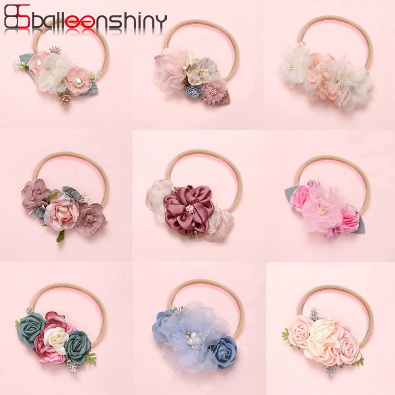 Balleenshiny 2020 New Fashion Baby Girls Headband Baby Cute Handmade Flowers Stitching Super Soft Seamless Hair Band Kids Turban